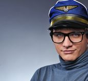 Giovane pilota bello Fotografie Stock