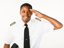 Giovane pilota isolato su bianco immagini stock