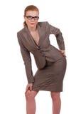 Giovane posizione della donna di affari Fotografia Stock Libera da Diritti