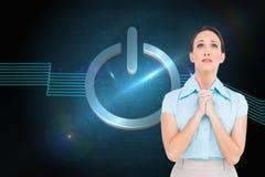Giovane pregare disturbato della donna di affari Fotografia Stock Libera da Diritti