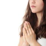 Giovane preghiera caucasica della donna Fotografia Stock