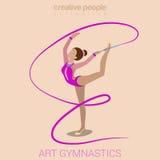 Giovane prestazione femminile di ginnastica di arte illustrazione vettoriale