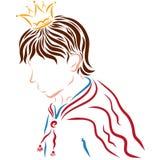 Giovane principe in un mantello rosso da incoronare royalty illustrazione gratis