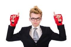 Giovane pugile dell'uomo d'affari Immagini Stock Libere da Diritti
