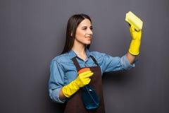 Giovane pulizia della casalinga con i detersivi in mani su backgroung grigio Immagine Stock