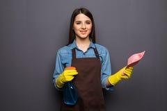 Giovane pulizia della casalinga con i detersivi in mani su backgroung grigio Fotografie Stock Libere da Diritti