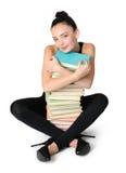 Giovane ragazza affascinante dell'allievo con i libri Immagine Stock Libera da Diritti