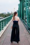Giovane ragazza asiatica sul ponte Fotografie Stock Libere da Diritti