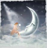 Giovane ragazza bionda che si siede sulla luna royalty illustrazione gratis
