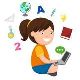 Giovane ragazza della scuola che impara con il computer portatile royalty illustrazione gratis