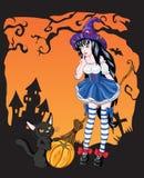 Giovane ragazza della strega con il gatto nero Fotografie Stock Libere da Diritti