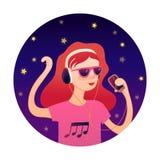 Giovane ragazza della testarossa che ascolta la musica con progettazione di vettore delle cuffie illustrazione vettoriale