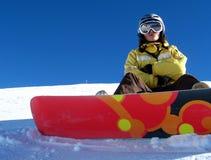 Giovane ragazza dello snowboard Fotografie Stock Libere da Diritti