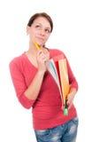 Giovane ragazza dello studente con i taccuini Immagine Stock Libera da Diritti