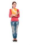 Giovane ragazza dello studente con i taccuini isolati su fondo bianco Fotografia Stock