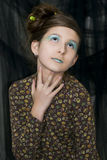 Giovane ragazza di modo con trucco speciale Fotografia Stock