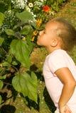 Giovane ragazza etnica che sente l'odore dei fiori Immagine Stock