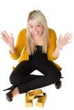 Giovane ragazza felice con i goldbars Fotografia Stock