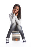 Giovane ragazza felice dell'allievo con i libri di formazione Fotografia Stock