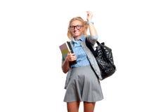 Giovane ragazza felice dell'allievo Di nuovo al banco Fotografia Stock Libera da Diritti