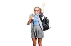 Giovane ragazza felice dell'allievo Di nuovo al banco Fotografie Stock Libere da Diritti