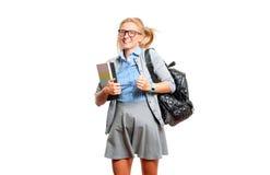 Giovane ragazza felice dell'allievo Di nuovo al banco Fotografie Stock