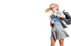Giovane ragazza felice dell'allievo Di nuovo al banco Fotografia Stock