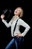 Giovane ragazza graziosa allegra patetica Fotografie Stock