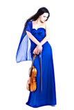 Giovane ragazza graziosa con il violino Fotografia Stock