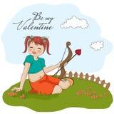 Giovane ragazza graziosa con l'arco del cupid Immagine Stock