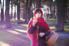 Giovane ragazza graziosa con una sciarpa rossa sulla sua testa Fotografie Stock Libere da Diritti