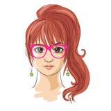 Giovane ragazza graziosa disegnata a mano nello stile di anime Fotografie Stock Libere da Diritti