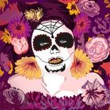 Giovane ragazza graziosa y di Sugar Skull del messicano con flowe Immagini Stock Libere da Diritti