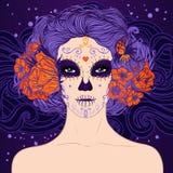 Giovane ragazza messicana graziosa del cranio dello zucchero Immagine Stock