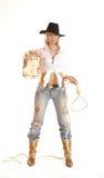 Giovane ragazza occidentale con un cappello e una corda Fotografia Stock Libera da Diritti