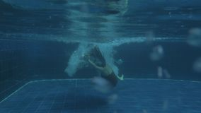 Giovane ragazza sexy che salta vibrazione posteriore in acqua di lusso dello stagno il giorno soleggiato archivi video