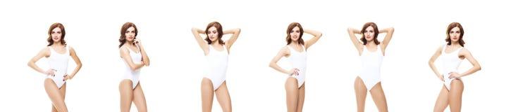 Giovane, ragazza sportiva ed adatta in biancheria intima bianca Backgrou isolato Fotografia Stock