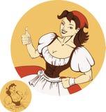 Giovane ragazza sveglia della birra in dirndl Fotografie Stock Libere da Diritti