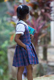 Giovane ragazza sveglia dello studente con un libro e una matita Fotografie Stock