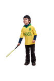 Giovane ragazzo allegro con la racchetta di tennis Fotografia Stock Libera da Diritti