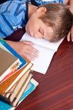 Giovane ragazzo che dorme sul suo scrittorio Immagini Stock