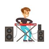 Giovane ragazzo che gioca piano elettrico Illustrazione variopinta di vettore del carattere Fotografia Stock Libera da Diritti