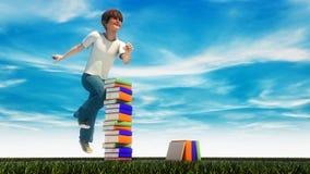 Giovane ragazzo che salta sull'erba Fotografie Stock Libere da Diritti