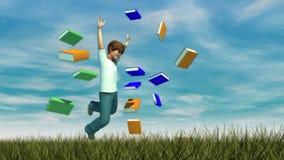 Giovane ragazzo che salta sull'erba Immagini Stock