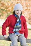 Giovane ragazzo che si siede sulla rete fissa Fotografia Stock Libera da Diritti