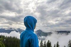 Giovane ragazzo che sta sul picco, Tirolo, Austria Immagini Stock Libere da Diritti