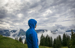Giovane ragazzo che sta sul picco, Tirolo, Austria Immagini Stock
