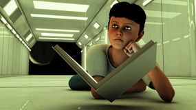 Giovane ragazzo con il libro Fotografie Stock Libere da Diritti