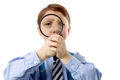 Giovane ragazzo con magnifer Fotografia Stock Libera da Diritti