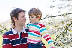 Giovane ragazzo del bambino e del padre in giardino di fioritura Immagini Stock